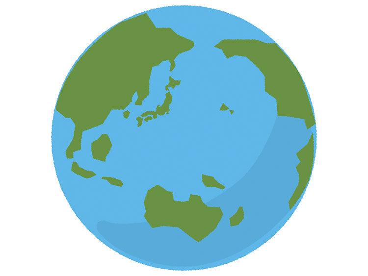 無料素材地球 日本中心 手書き風イラストacにてダウンロード可能